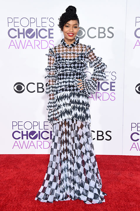 "<div class=""meta image-caption""><div class=""origin-logo origin-image none""><span>none</span></div><span class=""caption-text"">Yara Shahidi arrives at the People's Choice Awards at the Microsoft Theater on Wednesday, Jan. 18, 2017, in Los Angeles. (Jordan Strauss/Invision/AP)</span></div>"