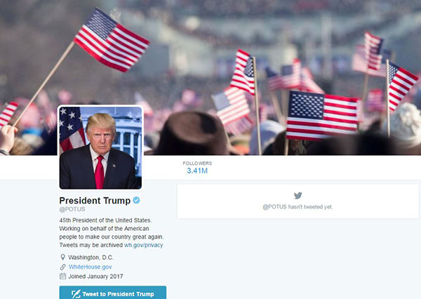 <div class='meta'><div class='origin-logo' data-origin='none'></div><span class='caption-text' data-credit='Twitter/POTUS'>A screenshot shows the new look to the POTUS Twitter page.</span></div>