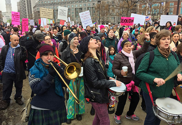 <div class='meta'><div class='origin-logo' data-origin='none'></div><span class='caption-text' data-credit='Jacqueline Larma/AP Photo'>Protesters gather for the Women's March on Philadelphia a day after Republican Donald Trump's inauguration as president, Saturday, Jan. 21, 2017 in Philadelphia.</span></div>