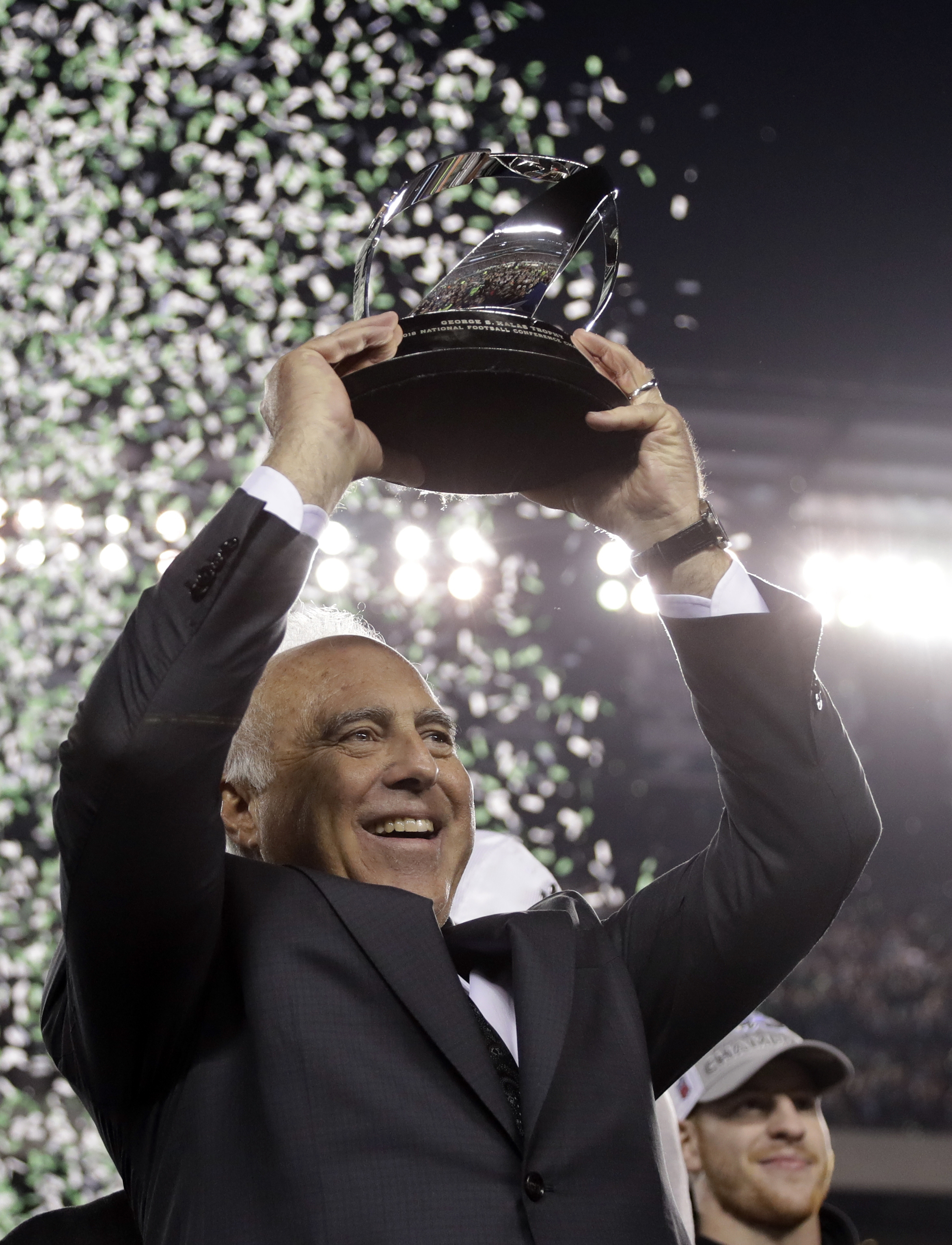 "<div class=""meta image-caption""><div class=""origin-logo origin-image ap""><span>AP</span></div><span class=""caption-text"">Philadelphia Eagles owner Jeffrey Lurie celebrates after the NFL football NFC championship game against the Minnesota Vikings Sunday, Jan. 21, 2018, in Philadelphia. (AP Photo/Matt Slocum)</span></div>"