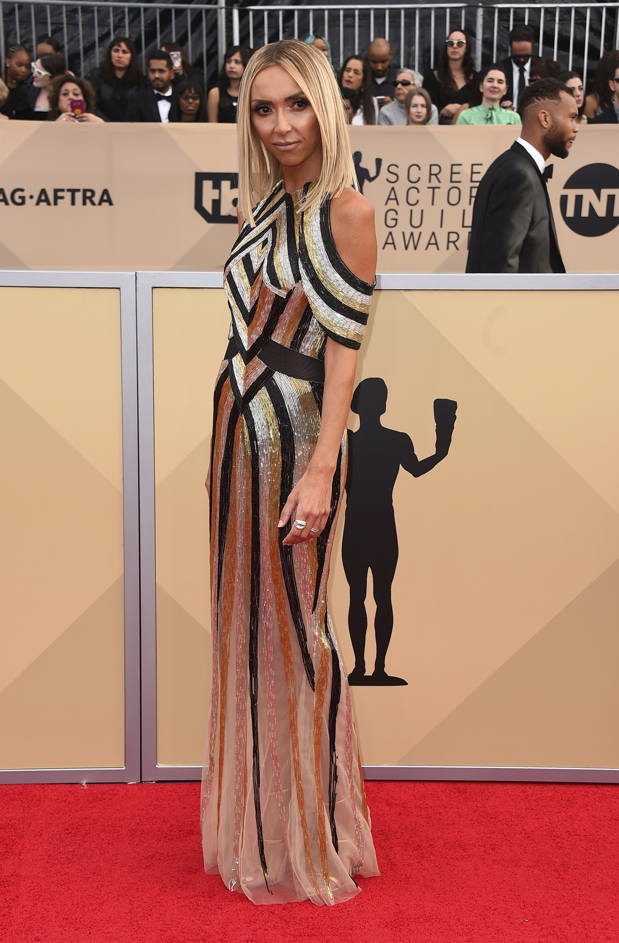<div class='meta'><div class='origin-logo' data-origin='AP'></div><span class='caption-text' data-credit='Jordan Strauss/Invision/AP'>Giuliana Rancic arrives at the 24th annual Screen Actors Guild Awards at the Shrine Auditorium & Expo Hall on Sunday, Jan. 21, 2018, in Los Angeles.</span></div>