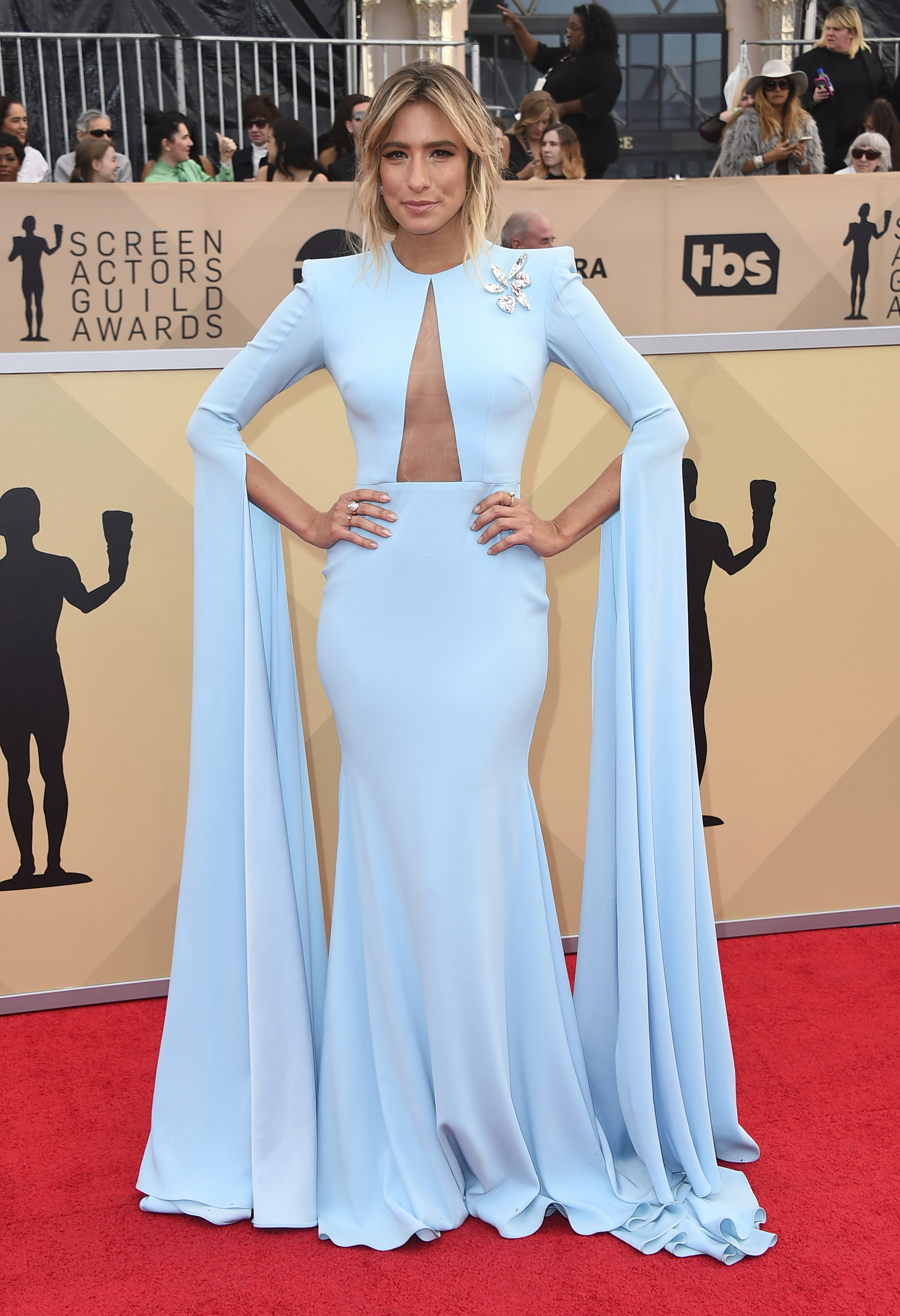 <div class='meta'><div class='origin-logo' data-origin='AP'></div><span class='caption-text' data-credit='Jordan Strauss/Invision/AP'>Renee Bargh arrives at the 24th annual Screen Actors Guild Awards at the Shrine Auditorium & Expo Hall on Sunday, Jan. 21, 2018, in Los Angeles.</span></div>