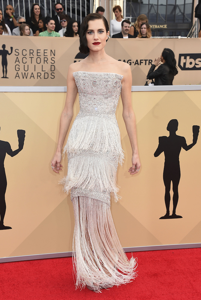 <div class='meta'><div class='origin-logo' data-origin='AP'></div><span class='caption-text' data-credit='Jordan Strauss/Invision/AP'>Allison Williams arrives at the 24th annual Screen Actors Guild Awards at the Shrine Auditorium & Expo Hall on Sunday, Jan. 21, 2018, in Los Angeles.</span></div>