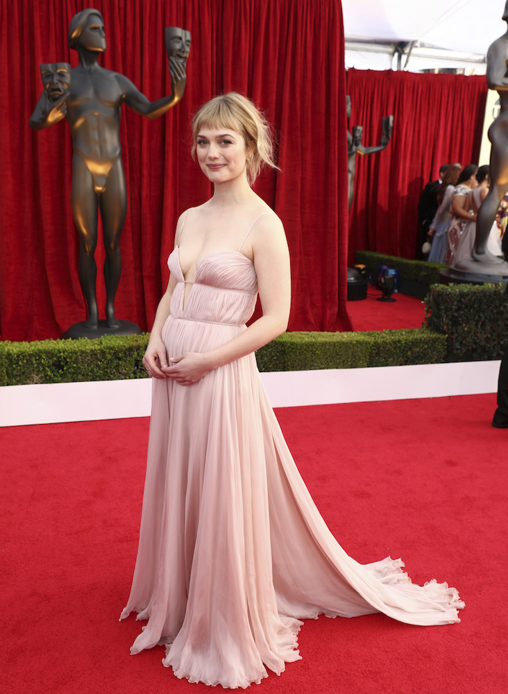 <div class='meta'><div class='origin-logo' data-origin='AP'></div><span class='caption-text' data-credit='Matt Sayles/Invision/AP'>Alison Sudol arrives at the 24th annual Screen Actors Guild Awards at the Shrine Auditorium & Expo Hall on Sunday, Jan. 21, 2018, in Los Angeles.</span></div>