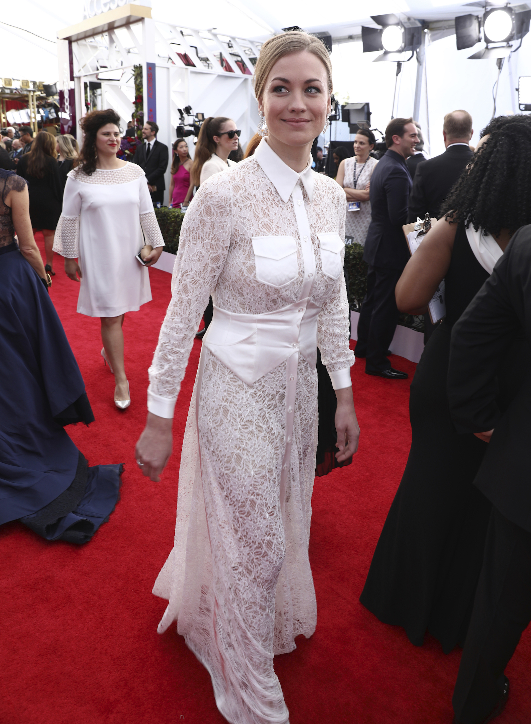 <div class='meta'><div class='origin-logo' data-origin='AP'></div><span class='caption-text' data-credit='Matt Sayles/Invision/AP'>Yvonne Strahovski arrives at the 24th annual Screen Actors Guild Awards at the Shrine Auditorium & Expo Hall on Sunday, Jan. 21, 2018, in Los Angeles.</span></div>