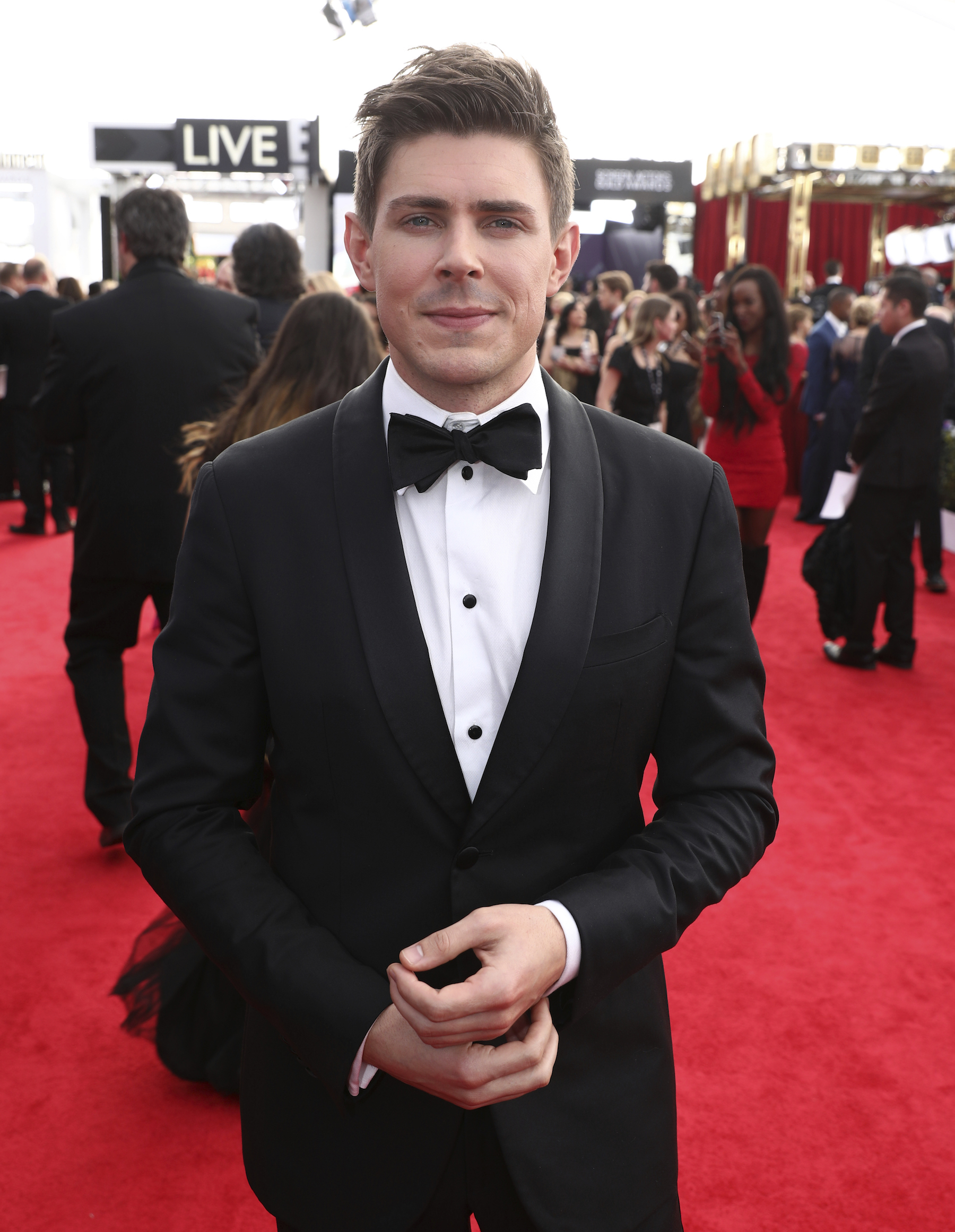 <div class='meta'><div class='origin-logo' data-origin='AP'></div><span class='caption-text' data-credit='Matt Sayles/Invision/AP'>Chris Lowell arrives at the 24th annual Screen Actors Guild Awards at the Shrine Auditorium & Expo Hall on Sunday, Jan. 21, 2018, in Los Angeles.</span></div>