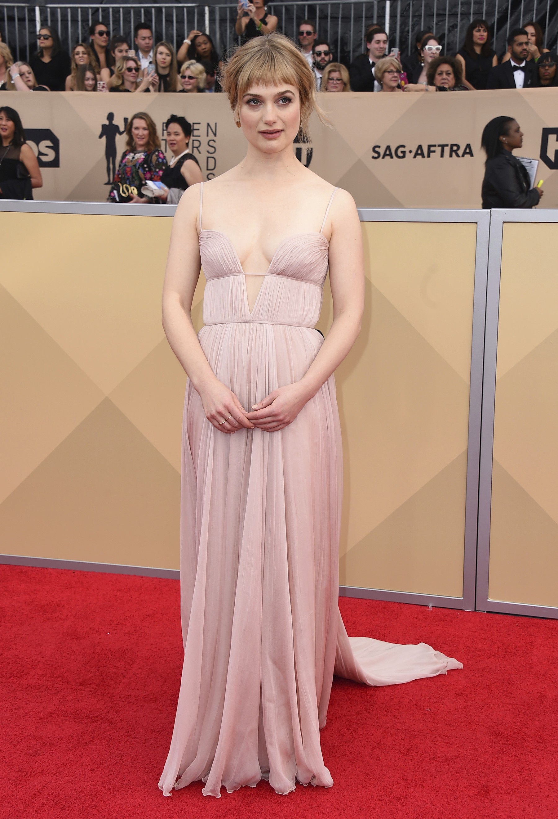 <div class='meta'><div class='origin-logo' data-origin='AP'></div><span class='caption-text' data-credit='Jordan Strauss/Invision/AP'>Alison Sudol arrives at the 24th annual Screen Actors Guild Awards at the Shrine Auditorium & Expo Hall on Sunday, Jan. 21, 2018, in Los Angeles.</span></div>