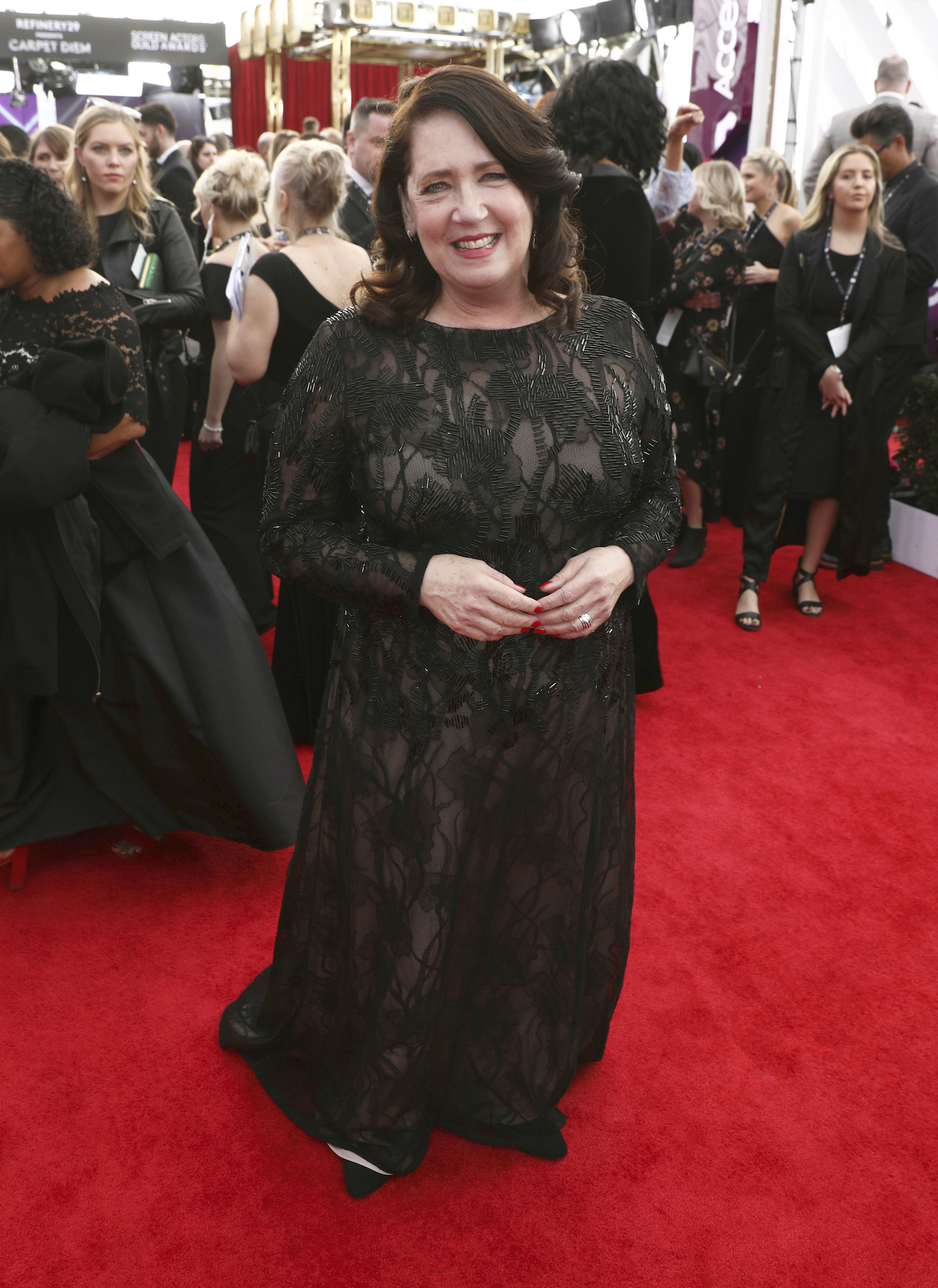 <div class='meta'><div class='origin-logo' data-origin='AP'></div><span class='caption-text' data-credit='Matt Sayles/Invision/AP'>Ann Dowd arrives at the 24th annual Screen Actors Guild Awards at the Shrine Auditorium & Expo Hall on Sunday, Jan. 21, 2018, in Los Angeles.</span></div>