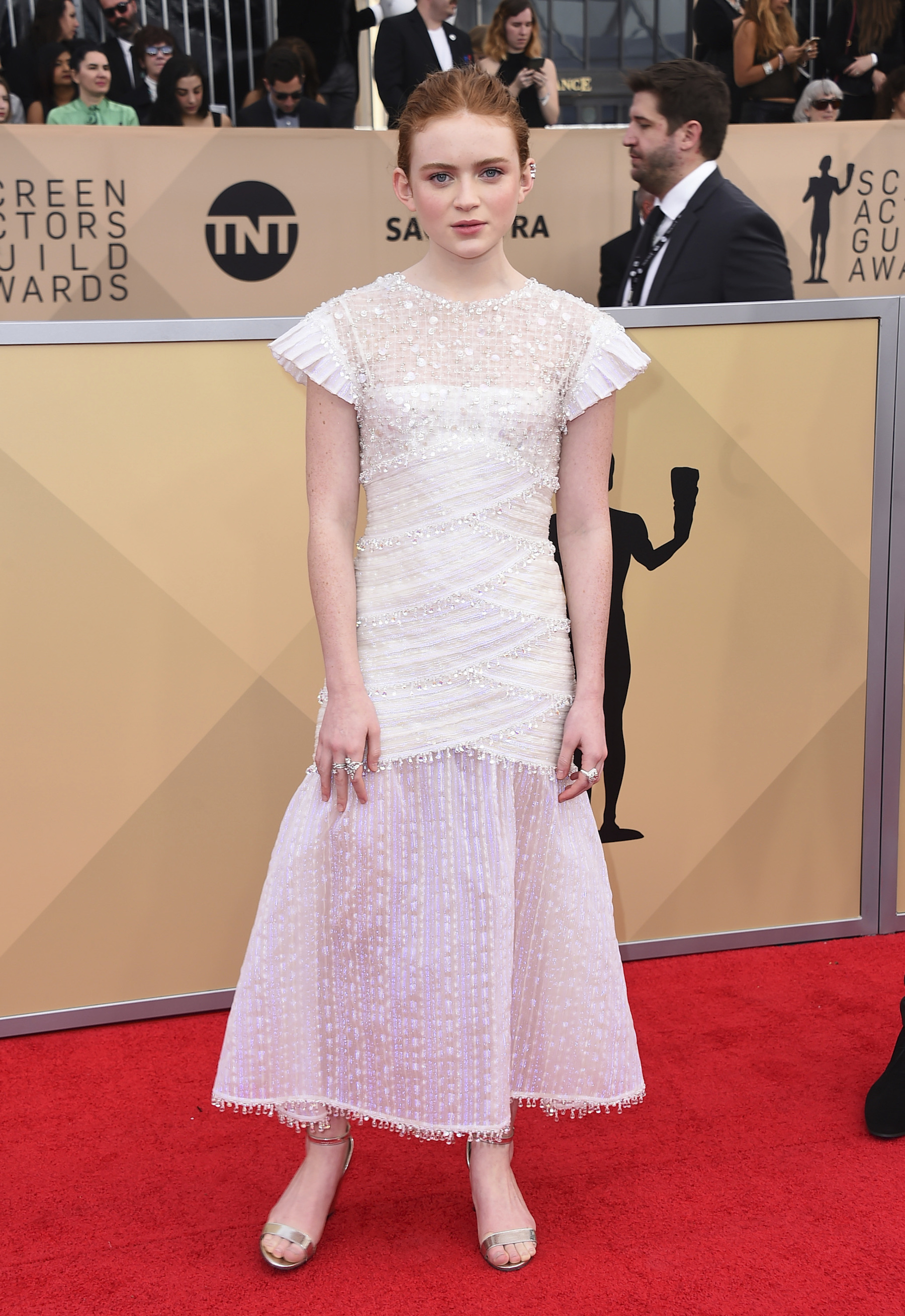 <div class='meta'><div class='origin-logo' data-origin='AP'></div><span class='caption-text' data-credit='Jordan Strauss/Invision/AP'>Sadie Sink arrives at the 24th annual Screen Actors Guild Awards at the Shrine Auditorium & Expo Hall on Sunday, Jan. 21, 2018, in Los Angeles.</span></div>