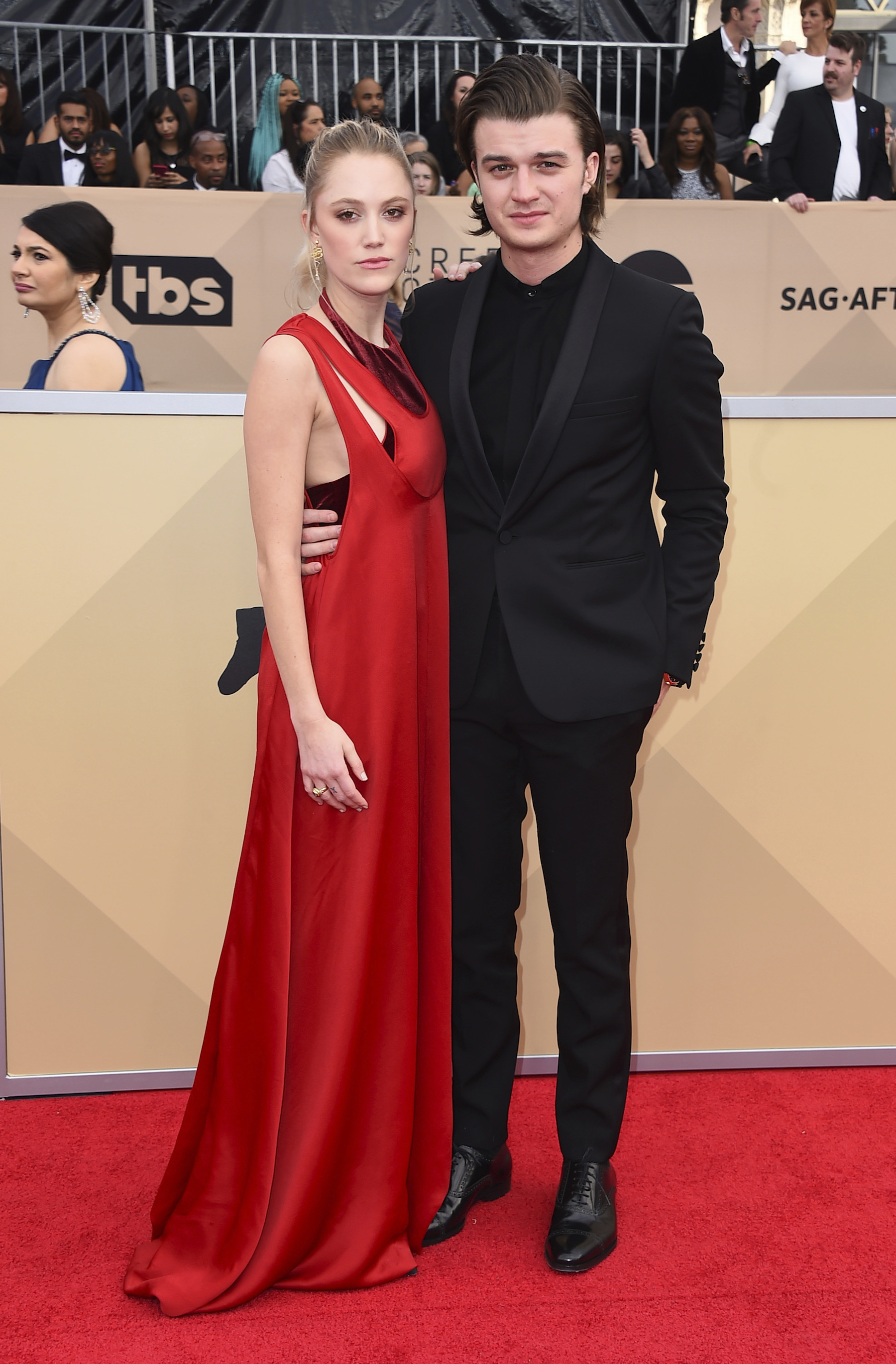 <div class='meta'><div class='origin-logo' data-origin='AP'></div><span class='caption-text' data-credit='Jordan Strauss/Invision/AP'>Maika Monroe, left, and Joe Keery arrive at the 24th annual Screen Actors Guild Awards at the Shrine Auditorium & Expo Hall on Sunday, Jan. 21, 2018, in Los Angeles.</span></div>