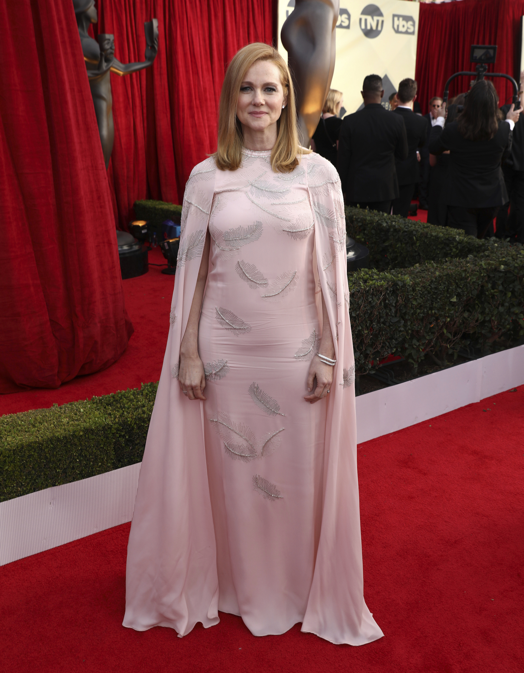 <div class='meta'><div class='origin-logo' data-origin='AP'></div><span class='caption-text' data-credit='Matt Sayles/Invision/AP'>Laura Linney arrives at the 24th annual Screen Actors Guild Awards at the Shrine Auditorium & Expo Hall on Sunday, Jan. 21, 2018, in Los Angeles.</span></div>