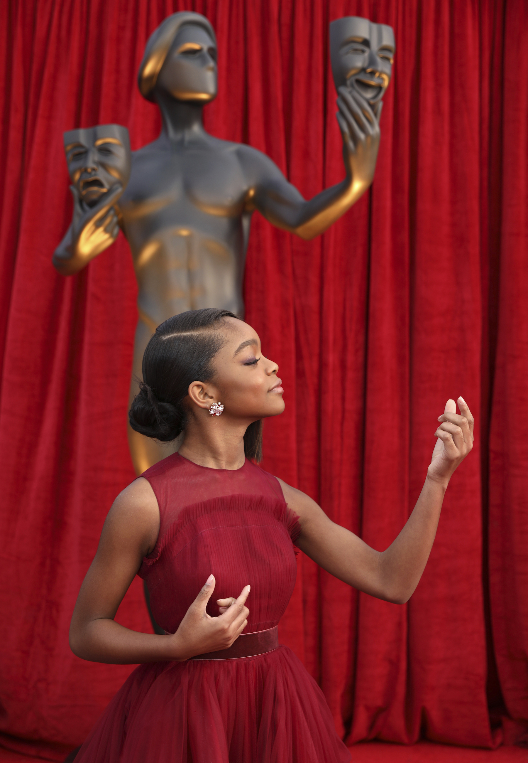 <div class='meta'><div class='origin-logo' data-origin='AP'></div><span class='caption-text' data-credit='Matt Sayles/Invision/AP'>Marsai Martin arrives at the 24th annual Screen Actors Guild Awards at the Shrine Auditorium & Expo Hall on Sunday, Jan. 21, 2018, in Los Angeles.</span></div>