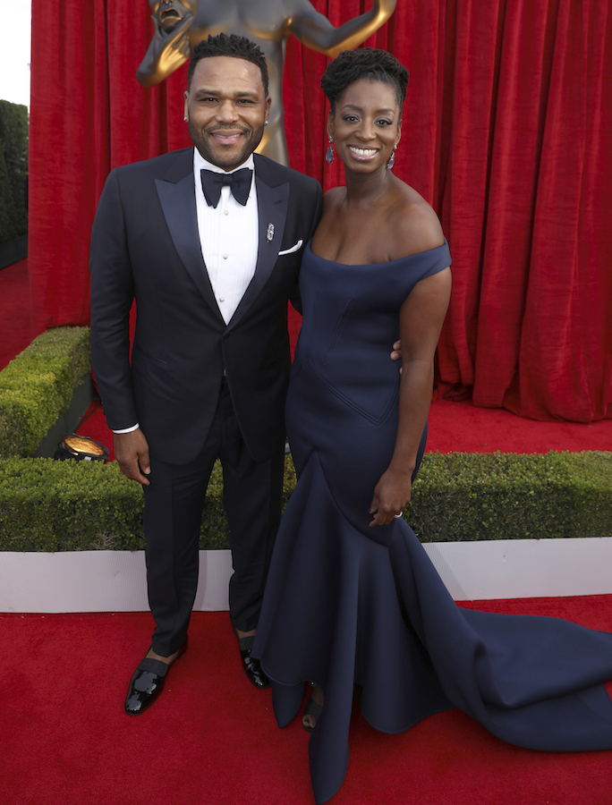 <div class='meta'><div class='origin-logo' data-origin='AP'></div><span class='caption-text' data-credit='Matt Sayles/Invision/AP'>Anthony Anderson, left, and Alvina Stewart arrive at the 24th annual Screen Actors Guild Awards at the Shrine Auditorium & Expo Hall on Sunday, Jan. 21, 2018, in Los Angeles.</span></div>
