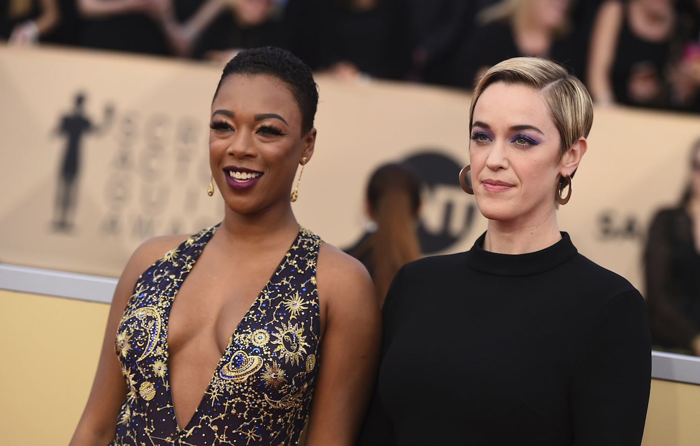 <div class='meta'><div class='origin-logo' data-origin='AP'></div><span class='caption-text' data-credit='Jordan Strauss/Invision/AP'>Samira Wiley, left and Lauren Morelli arrive at the 24th annual Screen Actors Guild Awards at the Shrine Auditorium & Expo Hall on Sunday, Jan. 21, 2018, in Los Angeles.</span></div>