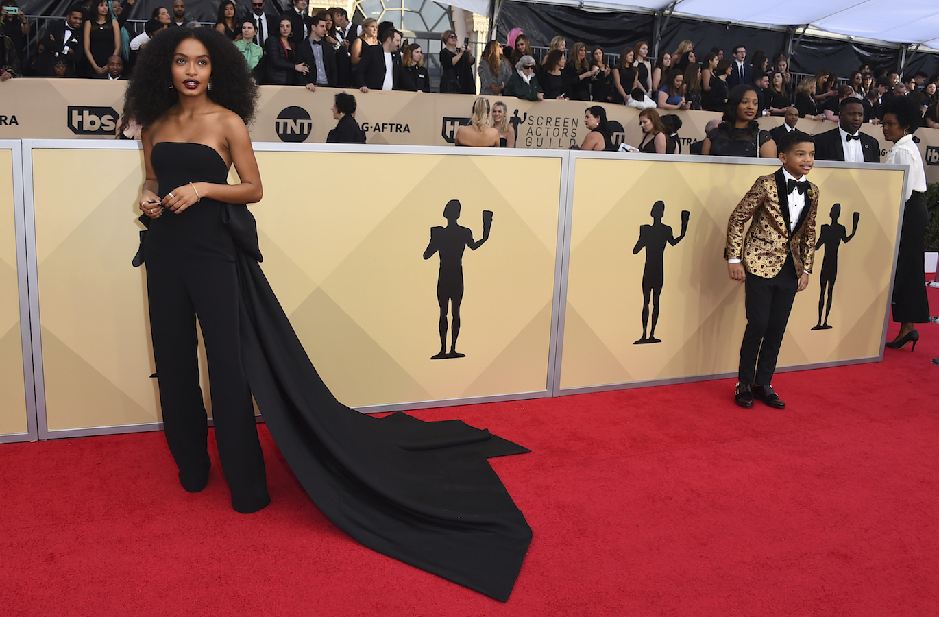 <div class='meta'><div class='origin-logo' data-origin='AP'></div><span class='caption-text' data-credit='Jordan Strauss/Invision/AP'>Yara Shahidi arrives at the 24th annual Screen Actors Guild Awards at the Shrine Auditorium & Expo Hall on Sunday, Jan. 21, 2018, in Los Angeles.</span></div>