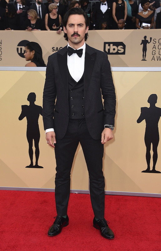 <div class='meta'><div class='origin-logo' data-origin='AP'></div><span class='caption-text' data-credit='Jordan Strauss/Invision/AP'>Milo Ventimiglia arrives at the 24th annual Screen Actors Guild Awards at the Shrine Auditorium & Expo Hall on Sunday, Jan. 21, 2018, in Los Angeles.</span></div>