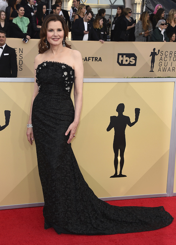 <div class='meta'><div class='origin-logo' data-origin='AP'></div><span class='caption-text' data-credit='Jordan Strauss/Invision/AP'>Geena Davis arrives at the 24th annual Screen Actors Guild Awards at the Shrine Auditorium & Expo Hall on Sunday, Jan. 21, 2018, in Los Angeles.</span></div>