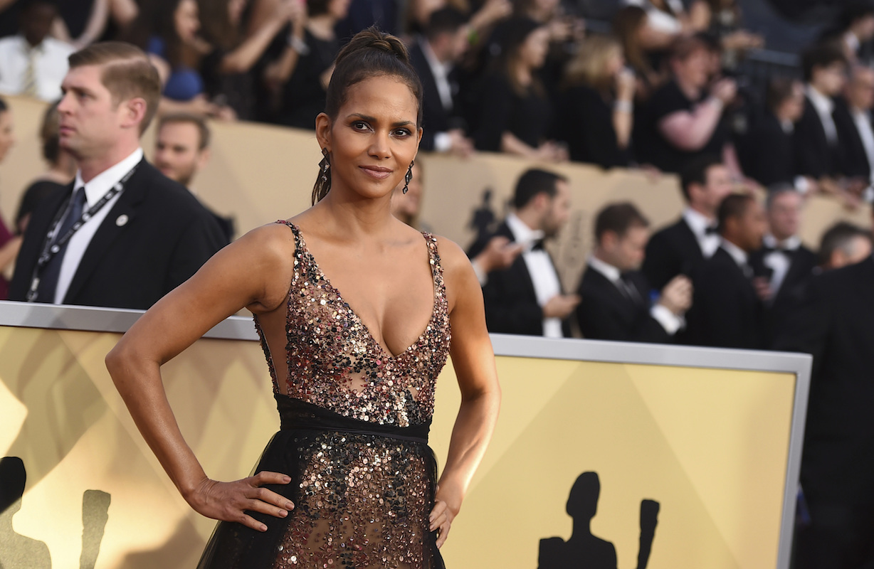 <div class='meta'><div class='origin-logo' data-origin='AP'></div><span class='caption-text' data-credit='Jordan Strauss/Invision/AP'>Halle Berry arrives at the 24th annual Screen Actors Guild Awards at the Shrine Auditorium & Expo Hall on Sunday, Jan. 21, 2018, in Los Angeles.</span></div>