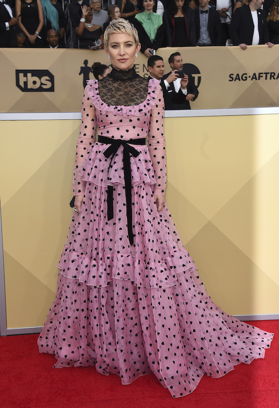 <div class='meta'><div class='origin-logo' data-origin='AP'></div><span class='caption-text' data-credit='Jordan Strauss/Invision/AP'>Kate Hudson arrives at the 24th annual Screen Actors Guild Awards at the Shrine Auditorium & Expo Hall on Sunday, Jan. 21, 2018, in Los Angeles.</span></div>