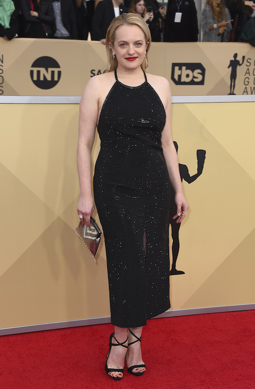 <div class='meta'><div class='origin-logo' data-origin='AP'></div><span class='caption-text' data-credit='Jordan Strauss/Invision/AP'>Elisabeth Moss arrives at the 24th annual Screen Actors Guild Awards at the Shrine Auditorium & Expo Hall on Sunday, Jan. 21, 2018, in Los Angeles.</span></div>