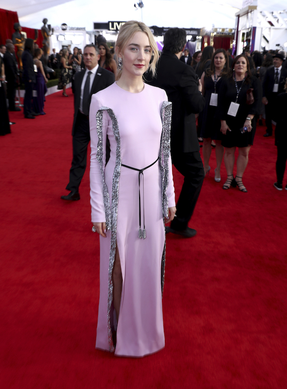 <div class='meta'><div class='origin-logo' data-origin='AP'></div><span class='caption-text' data-credit='Matt Sayles/Invision/AP'>Saoirse Ronan arrives at the 24th annual Screen Actors Guild Awards at the Shrine Auditorium & Expo Hall on Sunday, Jan. 21, 2018, in Los Angeles.</span></div>