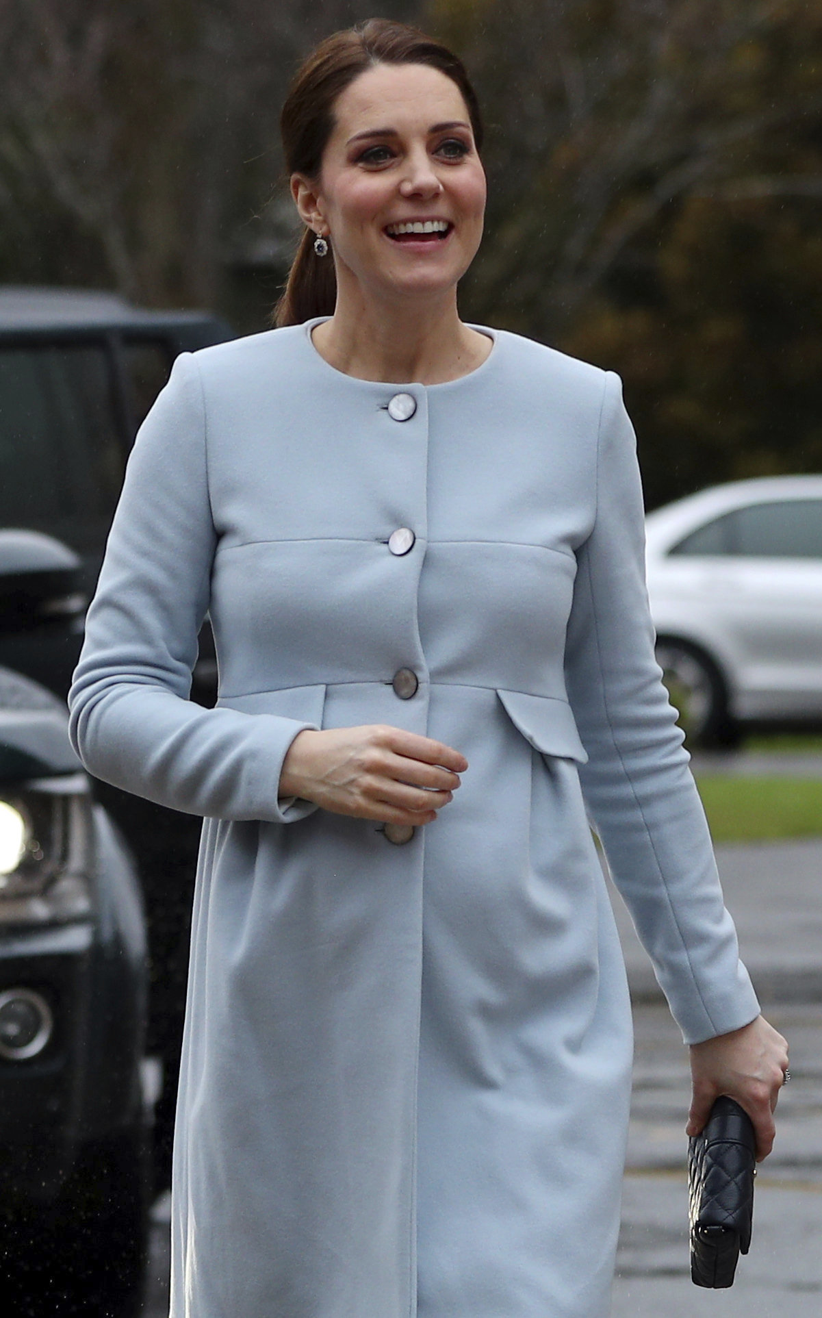 <div class='meta'><div class='origin-logo' data-origin='none'></div><span class='caption-text' data-credit='Hannah McKay/Pool Photo via AP'>Britain's Kate, Duchess of Cambridge, arrives to meet patients and staff at the Mother and Baby unit at the Bethlem Royal Hospital in south London, Wednesday, Jan. 24, 2018.</span></div>