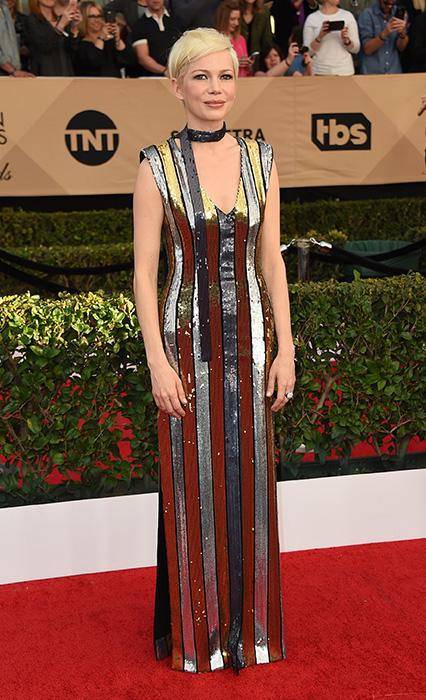 "<div class=""meta image-caption""><div class=""origin-logo origin-image ap""><span>AP</span></div><span class=""caption-text"">Michelle Williams arrives at the 23rd annual Screen Actors Guild Awards at the Shrine Auditorium & Expo Hall on Sunday, Jan. 29, 2017, in Los Angeles. (Jordan Strauss/Invision/AP)</span></div>"