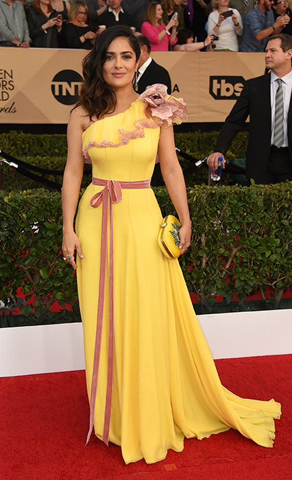 "<div class=""meta image-caption""><div class=""origin-logo origin-image ap""><span>AP</span></div><span class=""caption-text"">Salma Hayek arrives at the 23rd annual Screen Actors Guild Awards at the Shrine Auditorium & Expo Hall on Sunday, Jan. 29, 2017, in Los Angeles. (Jordan Strauss/Invision/AP)</span></div>"