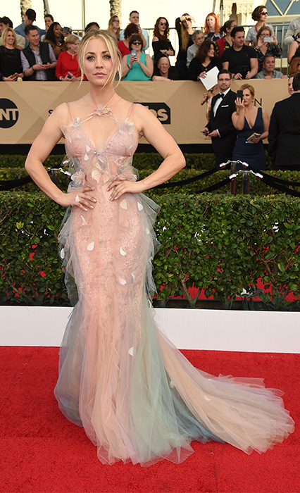 "<div class=""meta image-caption""><div class=""origin-logo origin-image none""><span>none</span></div><span class=""caption-text"">Kaley Cuoco arrives at the 23rd annual Screen Actors Guild Awards at the Shrine Auditorium & Expo Hall on Sunday, Jan. 29, 2017, in Los Angeles. (Jordan Strauss/Invision/AP)</span></div>"