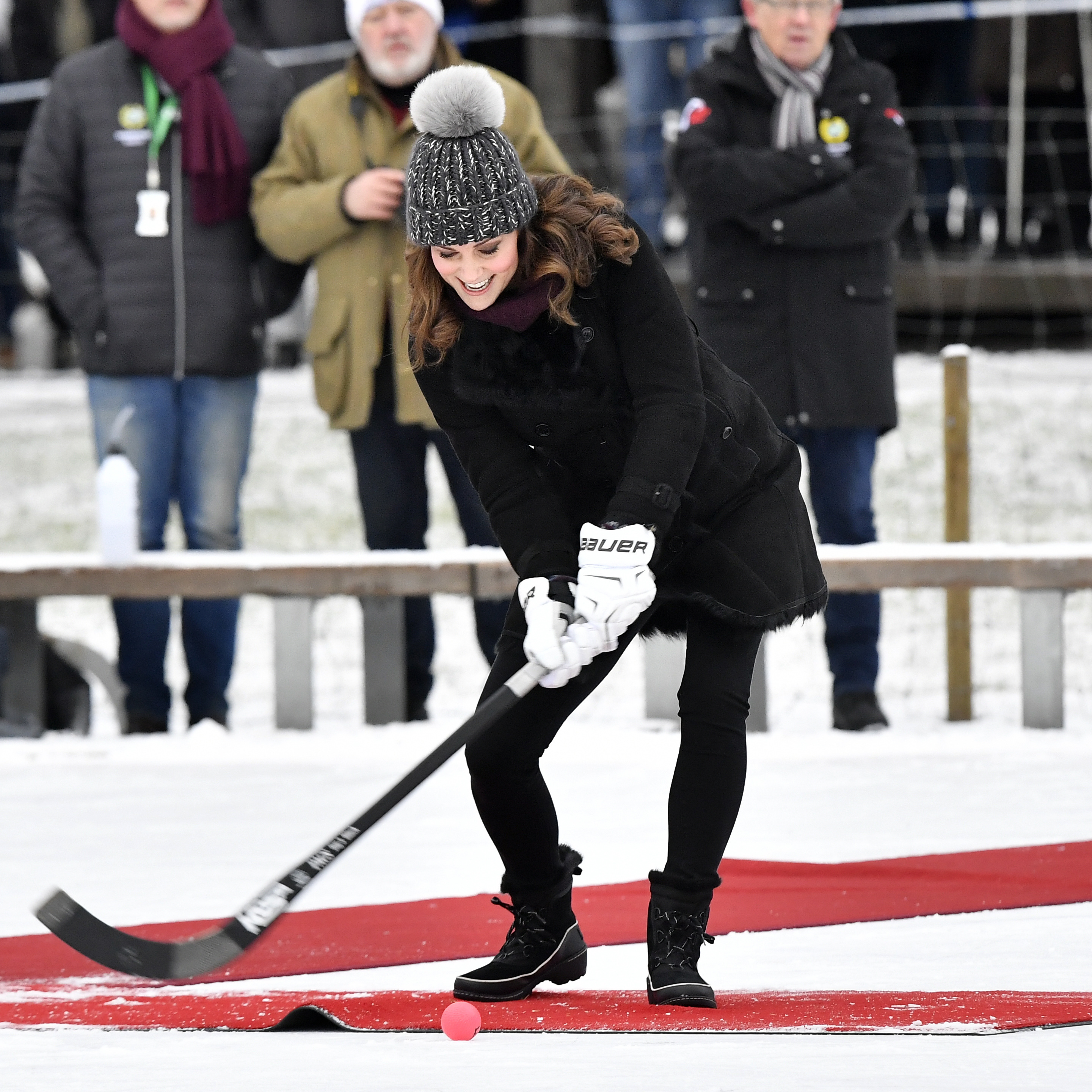 <div class='meta'><div class='origin-logo' data-origin='none'></div><span class='caption-text' data-credit='Jonas Ekstromer/TT via AP'>Kate tries a shot with a bandy stick in Stockholm, Sweden, Tuesday Jan. 30, 2018, during Prince William and Duchess of Cambridge 4-day visit to Sweden and Norway.</span></div>
