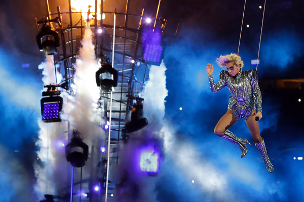<div class='meta'><div class='origin-logo' data-origin='none'></div><span class='caption-text' data-credit='Patrick Semansky/AP'>Singer Lady Gaga performs during the halftime show of the NFL Super Bowl 51 football game between the New England Patriots and the Atlanta Falcons, Sunday, Feb. 5, 2017, in Houston</span></div>