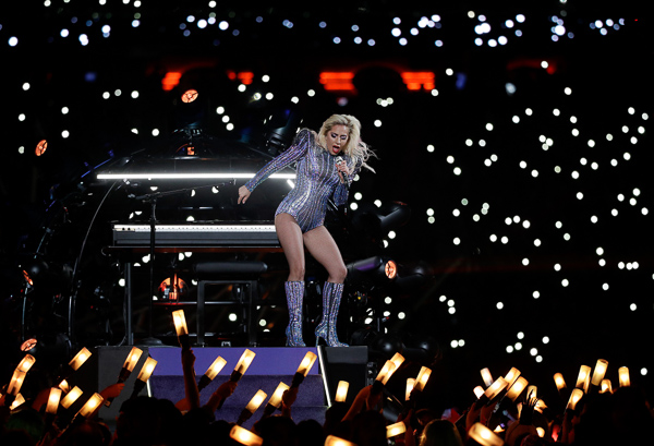 <div class='meta'><div class='origin-logo' data-origin='none'></div><span class='caption-text' data-credit='Jae C. Hong/AP'>Lady Gaga performs during the halftime show of the NFL Super Bowl 51 football game between the Atlanta Falcons and the New England Patriots Sunday, Feb. 5, 2017, in Houston.</span></div>