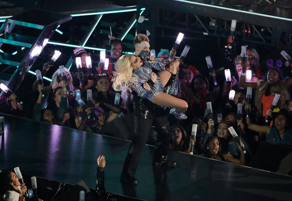 <div class='meta'><div class='origin-logo' data-origin='none'></div><span class='caption-text' data-credit='Charlie Riedel/AP'>Lady Gaga performs during the halftime show of the NFL Super Bowl 51 football game between the Atlanta Falcons and the New England Patriots Sunday, Feb. 5, 2017, in Houston.</span></div>