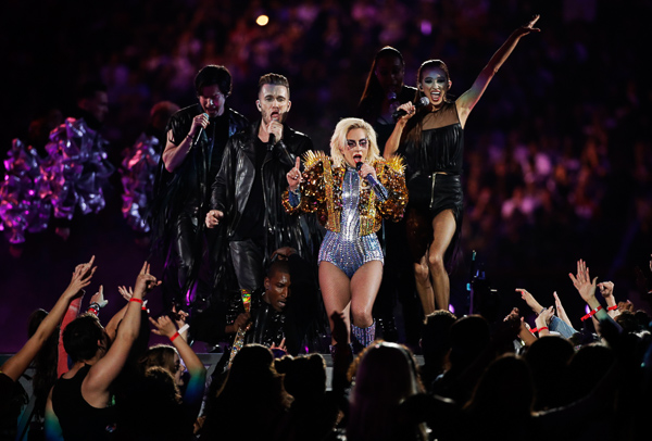 <div class='meta'><div class='origin-logo' data-origin='none'></div><span class='caption-text' data-credit='Jae C. Hong/AP'>Lady Gaga performs during the halftime show of the NFL Super Bowl 51 football game between the Atlanta Falcons and the New England Patriots, Sunday, Feb. 5, 2017, in Houston.</span></div>