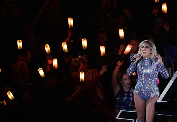 <div class='meta'><div class='origin-logo' data-origin='none'></div><span class='caption-text' data-credit='Charlie Riedel/AP'>Lady Gaga performs during the halftime show of the NFL Super Bowl 51 football game between the Atlanta Falcons and the New England Patriots, Sunday, Feb. 5, 2017, in Houston.</span></div>