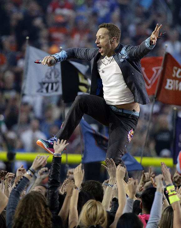 <div class='meta'><div class='origin-logo' data-origin='AP'></div><span class='caption-text' data-credit='AP Photo/Julie Jacobson'>Coldplay singer Chris Martin performs during halftime of the NFL Super Bowl 50 football game Sunday, Feb. 7, 2016, in Santa Clara, Calif.</span></div>
