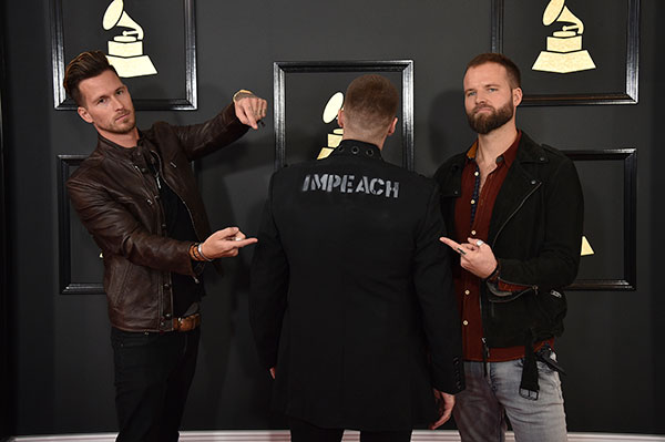 "<div class=""meta image-caption""><div class=""origin-logo origin-image none""><span>none</span></div><span class=""caption-text"">Ryan Meyer, from left, Johnny Stevens, and Rich Meyer of the musical group Highly Suspect arrive at the 59th annual Grammy Awards at the Staples Center on Feb. 12, 2017. (Jordan Strauss/Invision/AP)</span></div>"