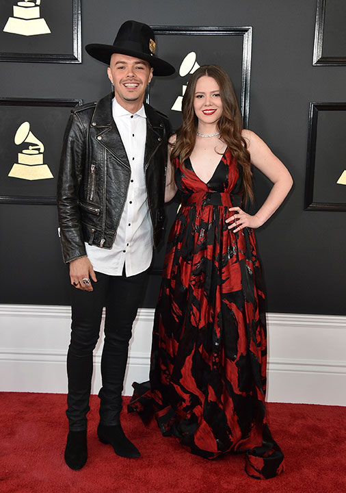 "<div class=""meta image-caption""><div class=""origin-logo origin-image none""><span>none</span></div><span class=""caption-text"">Jesse Huerta, left, and Joy Huerta of Jesse & Joy  arrive at the 59th annual Grammy Awards at the Staples Center on Sunday, Feb. 12, 2017, in Los Angeles. (Jordan Strauss/Invision/AP)</span></div>"