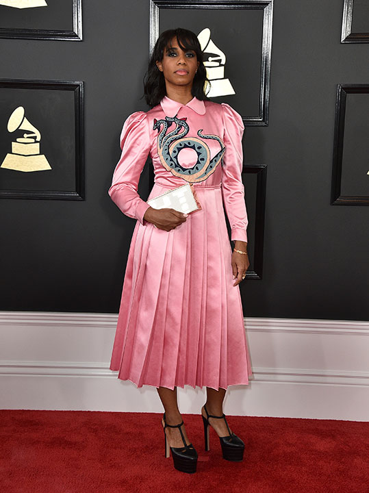 "<div class=""meta image-caption""><div class=""origin-logo origin-image none""><span>none</span></div><span class=""caption-text"">Santigold arrives at the 59th annual Grammy Awards at the Staples Center on Sunday, Feb. 12, 2017, in Los Angeles. (Jordan Strauss/Invision/AP)</span></div>"