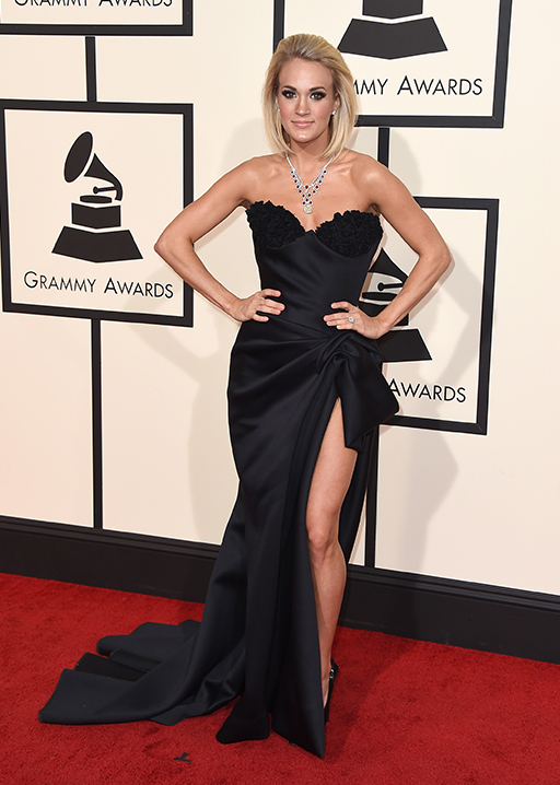 <div class='meta'><div class='origin-logo' data-origin='AP'></div><span class='caption-text' data-credit='Jordan Strauss/Invision/AP'>Carrie Underwood arrives at the 58th annual Grammy Awards at the Staples Center on Monday, Feb. 15, 2016, in Los Angeles.</span></div>