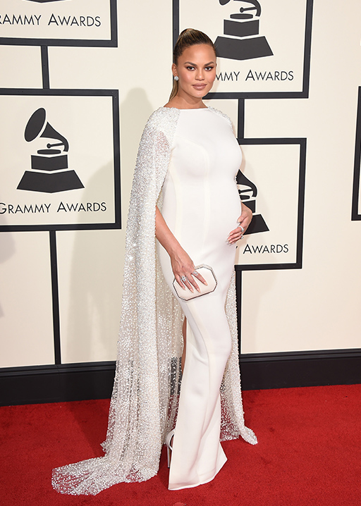 <div class='meta'><div class='origin-logo' data-origin='AP'></div><span class='caption-text' data-credit='Jordan Strauss/Invision/AP'>Chrissy Teigen arrives at the 58th annual Grammy Awards at the Staples Center on Monday, Feb. 15, 2016, in Los Angeles.</span></div>