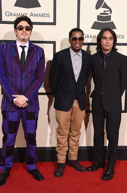 <div class='meta'><div class='origin-logo' data-origin='AP'></div><span class='caption-text' data-credit='Jordan Strauss/Invision/AP'>Russell Elevado, from left, Chris Dave, and Ben Kane arrive at the 58th annual GRAMMY Awards at the Staples Center on Monday, Feb. 15, 2016, in Los Angeles.</span></div>