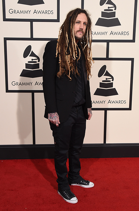 <div class='meta'><div class='origin-logo' data-origin='AP'></div><span class='caption-text' data-credit='Jordan Strauss/Invision/AP'>Brian &#34;Head&#34; Welch arrives at the 58th annual Grammy Awards at the Staples Center on Monday, Feb. 15, 2016, in Los Angeles.</span></div>