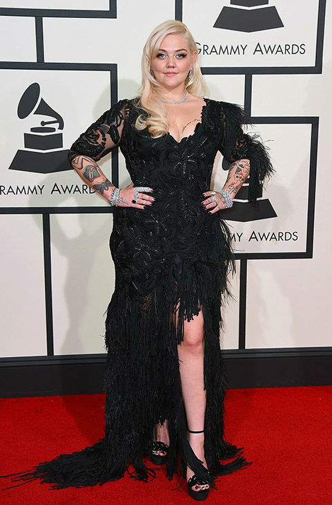 <div class='meta'><div class='origin-logo' data-origin='none'></div><span class='caption-text' data-credit='Jordan Strauss/Invision/AP'>Elle King arrives at the 58th annual Grammy Awards at the Staples Center on Monday, Feb. 15, 2016, in Los Angeles.</span></div>