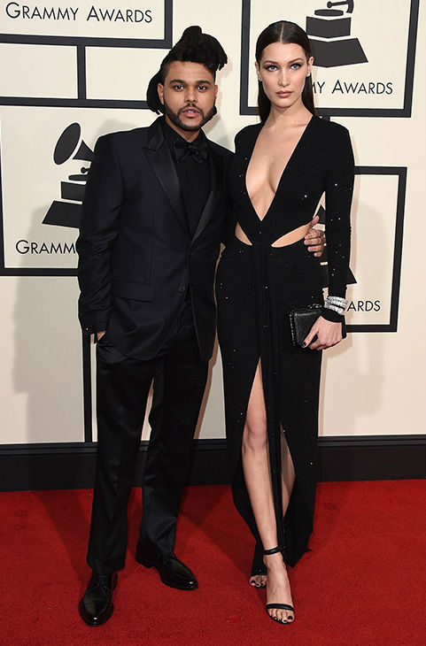 <div class='meta'><div class='origin-logo' data-origin='none'></div><span class='caption-text' data-credit='Jordan Strauss/Invision/AP'>The Weeknd, left, and Bella Hadid arrive at the 58th annual Grammy Awards at the Staples Center on Monday, Feb. 15, 2016, in Los Angeles.</span></div>