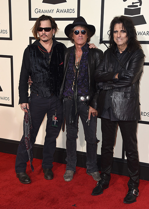 <div class='meta'><div class='origin-logo' data-origin='AP'></div><span class='caption-text' data-credit='Jordan Strauss/Invision/AP'>Johnny Depp, from left, Joe Perry, and Alice Cooper arrive at the 58th annual Grammy Awards at the Staples Center on Monday, Feb. 15, 2016, in Los Angeles.</span></div>
