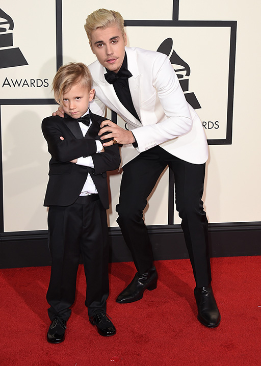 <div class='meta'><div class='origin-logo' data-origin='AP'></div><span class='caption-text' data-credit='Jordan Strauss/Invision/AP'>Jaxon Bieber, left, and Justin Bieber arrive at the 58th annual Grammy Awards at the Staples Center on Monday, Feb. 15, 2016, in Los Angeles.</span></div>