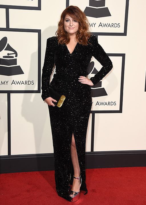 <div class='meta'><div class='origin-logo' data-origin='AP'></div><span class='caption-text' data-credit='Jordan Strauss/Invision/AP'>Meghan Trainor arrives at the 58th annual Grammy Awards at the Staples Center on Monday, Feb. 15, 2016, in Los Angeles.</span></div>