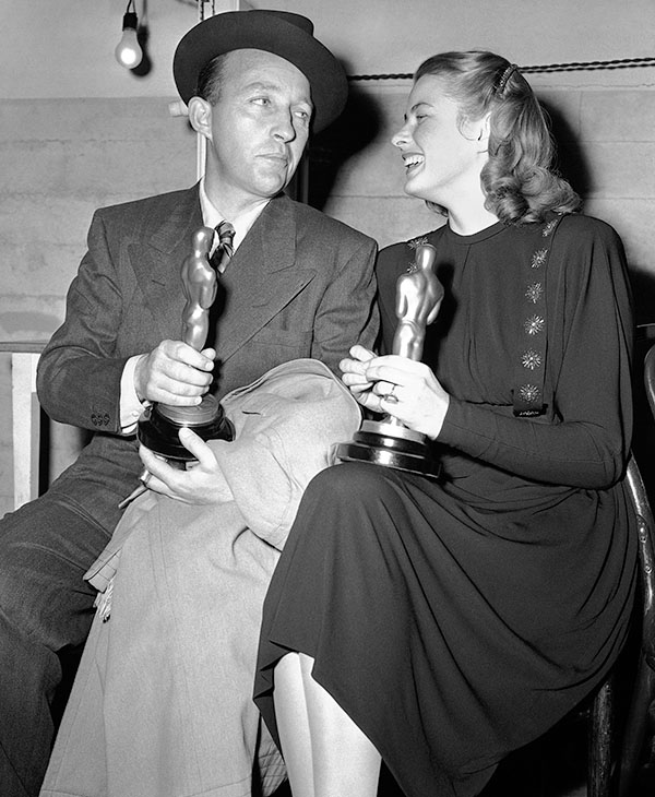 <div class='meta'><div class='origin-logo' data-origin='AP'></div><span class='caption-text' data-credit=''>Bing Crosby, honored for his performance in &#34;Going My Way&#34;, and Ingrid Bergman, recognized for her role in &#34;Gaslight&#34;, compare Oscars in Los Angeles, March 15, 1945.</span></div>