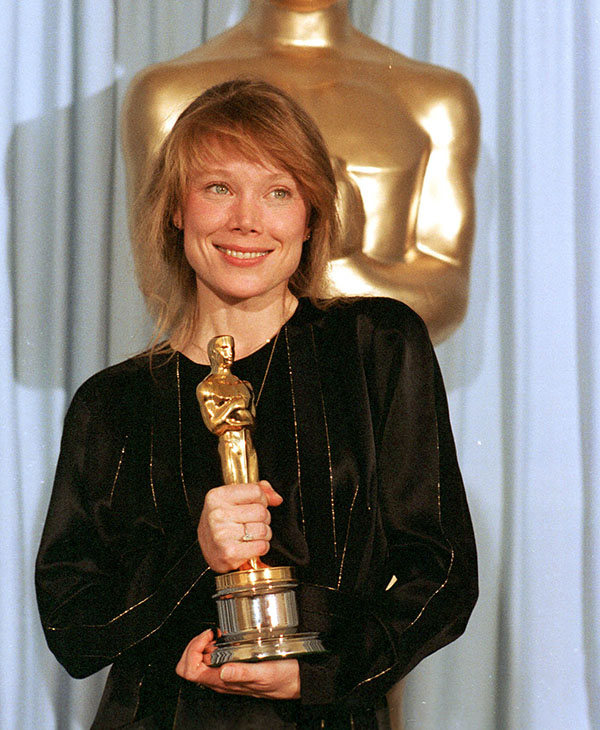 <div class='meta'><div class='origin-logo' data-origin='AP'></div><span class='caption-text' data-credit=''>Actress Sissy Spacek holds Oscar she won March 31,1981 for her role as singer Loretta Lynn in &#34;Coal Miner's Daughter.&#34;</span></div>